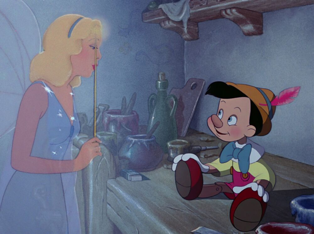 The Blue Fairy visiting with Pinocchio
