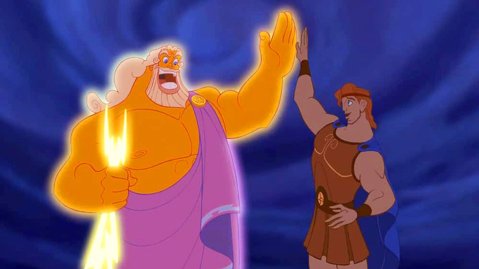 Hercules giving Zeus a manly high five